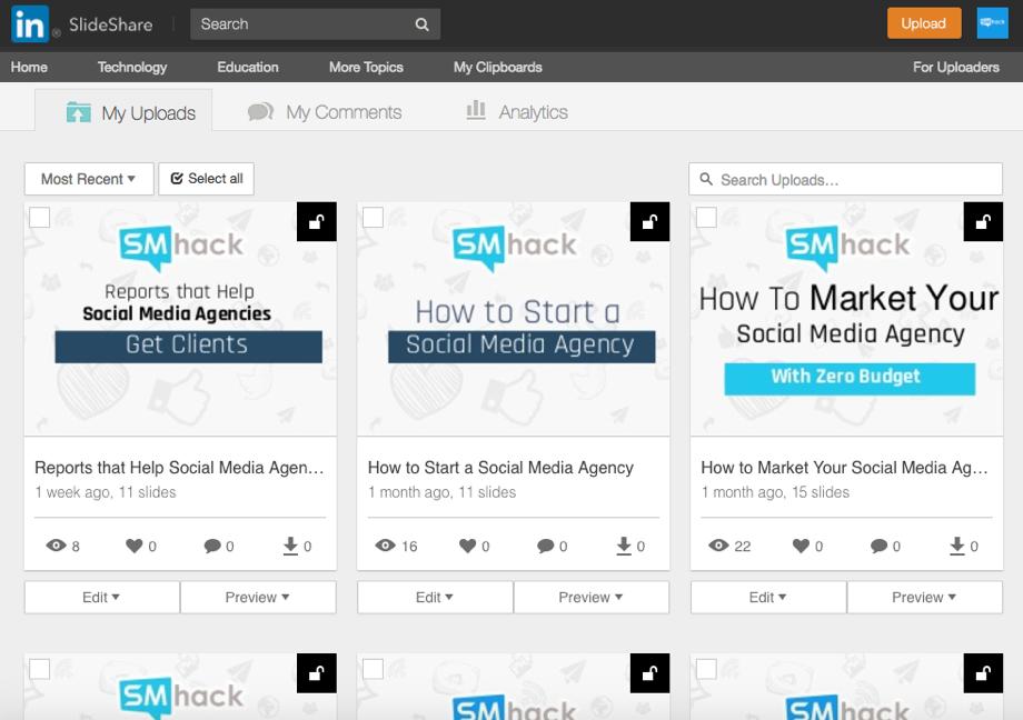SMhack SlideShare LinkedIn